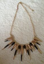 Gold And Black Spike Necklace