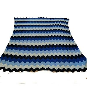 """Vintage Handmade 86""""×86"""" Crochet Afgan Zigzag Blanket/Bed Spread Queen Chevron"""