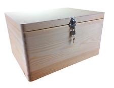 abschließbare Aufbewahrungsbox Holzkiste o. Grifflöcher Kiefer Gr. 3 (Schloss 2)