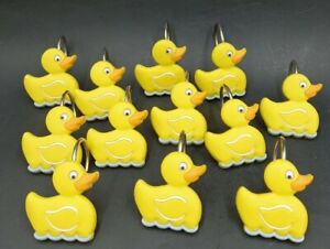 Rubber Duck / Duckie / Ducky Theme Shower Curtain Rod Hooks Set Of 12