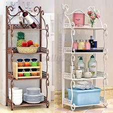 4 Tiers Folding Metal Kitchen Bathroom Bedroom Rack Book Shelf Bathroom Shower