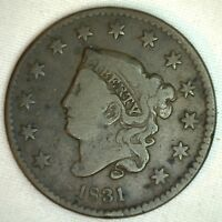 1831 Coronet Large Cent US Copper Type Coin Very Fine Newcomb N8 VFG K12