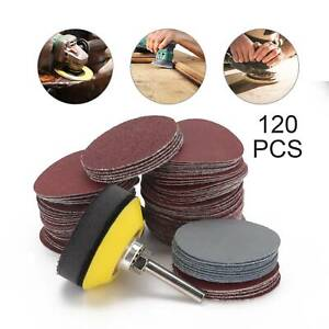 120PCS Sanding Discs Pad Kit For Drill Grinder Rotary Tools W/ Backing Pad Shank