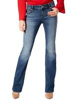 INC Women's Jeans Medium Wash Blue Size 0 Mid Rise Bootcut Leg Stretch $69 #107