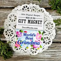 World's Best GRANDMA * FRIDGE Family USA Appreciation Pkg Gift Magnet DecoWords