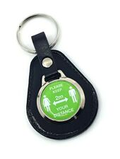 Please Keep your Distance Leather Keyring, Green