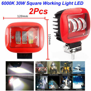 2Pcs 6000K 30W Car Square Working Light LED Marine Spotlight Dock Lamp for Jeep