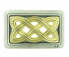 Cross Knot Celtic Gold & Silver Plated Metal Belt Buckle