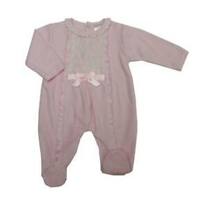 Spanish Romany Style baby grow sleepsuit Lace bow pink velour NB 0-3 m 3-6m