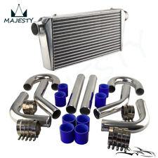 "Universal Front Mount Turbo Intercooler + 3"" DIY Aluminum Piping Hose Clamps Kit"