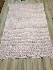 "Afgan Crocheted Blanket 102""x80"" light blue pink and white"