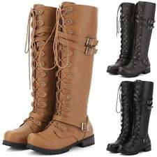 Women Lace Up Knee High Boots Wide Calf Mid Heel Block Knight Riding Shoes Size