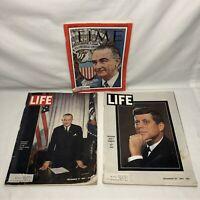 Lot of 3 TIME and LIFE Magazines Nov & Dec 1963 Kennedy Lyndon Johnson PRESIDENT