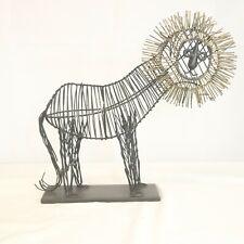 Metal Lion Sculpture Mid-Century Modern Wire MCM Pier One Retro