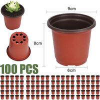 100pcs Plastic Garden Nursery Pots Flowerpot Seedlings Planter Containers Set