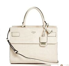 GUESS Cate Status Satchel carryall Tote Handbag Crocodile Embossed Off White