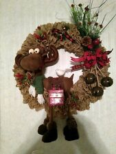 24 inch Custom Made Moose and Burlap Countdown to Christmas Wreath - New Cute!!!