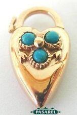 Designer 14k Rose Gold Turquoise Heart Padlock Pendant