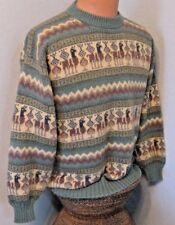 "Alpaca Sweater with Alpaca Design 44"" Chest Very Soft  Green Tan & Brown #1247 D"
