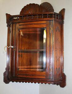 Antique Hanging Mahogany Corner Cabinet with beveled glass Door