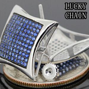 MEN`S 925 STERLING SILVER SCREW BACK BLUE LAB DIAMOND STUD EARRING(W 18mm)E108