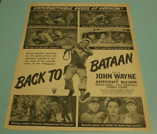 1945 BACK TO BATAAN PRINT MOVIE AD - JOHN WAYNE