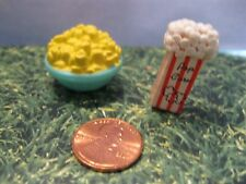 BARBIE DOLL HOUSE KITCHEN ACCESSORIES BOWL OF POPCORN / THEATER BAG OF POP CORN