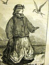 Gaston Fay THE SEA SWALLOW  GIRL on SHORE 1867 Antique Engraving Print Matted