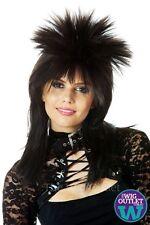 WILD PUNK 80'S BLACK FEMALE ROCKSTAR SPIKY COSTUME WIG, New, Mullet, Vamp
