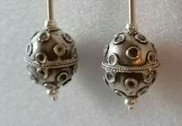 Sterling Silver Vintage Art Deco Bead Drop Dangle Hook Earrings