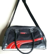 Vintage Puma Bag Duffle Gym Tote Black Red Nylon Vinyl Double Handle 17 x 9 x 7
