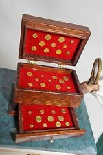 Dolls house miniature Gold Coin display Box