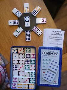 JUMBO SIZE DOUBLE NINE DOMINOES  COLOURED DOTS