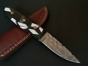 CUSTOM HAND MADE DAMASCUS STEEL BLADE HUNTING KNIFE CF-6872