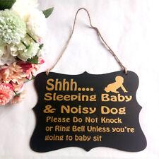 Shh.. Sleeping Baby Do Not Knock Plaque Nursery Room Wooden Door Hanging Sign