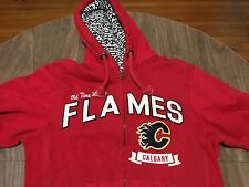 Old Time Hockey Calgary Flames Medium Red Zip Up Hoodie Sweatshirt NHL +Tags