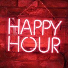 HAPPY HOUR Real Neon Light Sign Artwork Handcraft Beer BAR Room Wall Decor Lamp