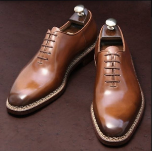 Handmade brown Dress shoes for men, Mens good year welted formal Oxfords shoes