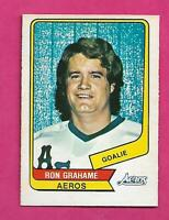 RARE 1976-77 OPC WHA # 107 AEROS RON GRAHAME GOALIE NRMT+ CARD (INV# C5602)