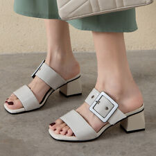 Women's Slippers Slide Strappy Open Toe Block Heel Summer Casual Sandals Shoes