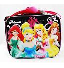 NWT Princess Insulated Black Lunch Box Bag Disney- Cinderella, Ariel, Belle