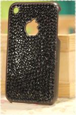 Cover rigida iphone 3-3gs strass nero opaco applicati a mano colore base marrone