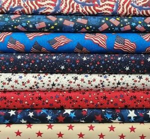 Patriotic Cotton By The 1/4 Yard - PICK FABRIC - USA Stars Stripes American Flag