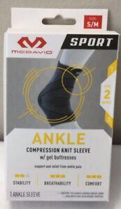 McDavid Sport Compression Ankle Compression Sleeve Gel Buttresses Sz S / M (C33)
