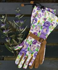 Womanswork 718 Long Garden Gloves Arm Saver Synthetic Gardening Purple Floral
