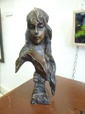 Vintage Cast Bronze Carmella Villanis Pre-Raphaelite Woman Lady Bust Sculpture