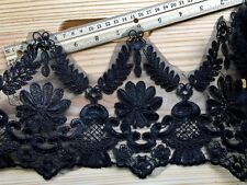 "Black Corded Floral Embroidered Lace Border Trim  for Sewing/ Crafts /6.5"" Wide"