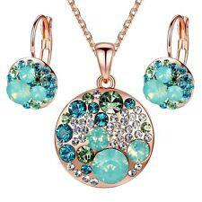 "Leafael ""Ocean Bubble"" Swarovski Crystal Green Jewelry Set, 18K Rose Gold Plated"