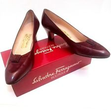 Vintage Salvatore Ferragamo Boutique Burgundy Calf Leather Suede Pumps Sz 10 AA