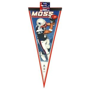 NFL Randy Moss New England Patriots Collector Player Football Pennant 2007 12x30